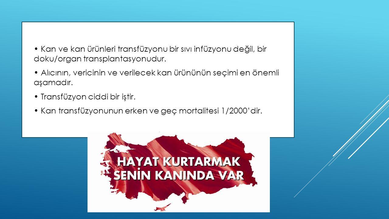  Kan ve kan ürünleri transfüzyonu bir sıvı infüzyonu değil, bir doku/organ transplantasyonudur.  Alıcının, vericinin ve verilecek kan ürününün seçim