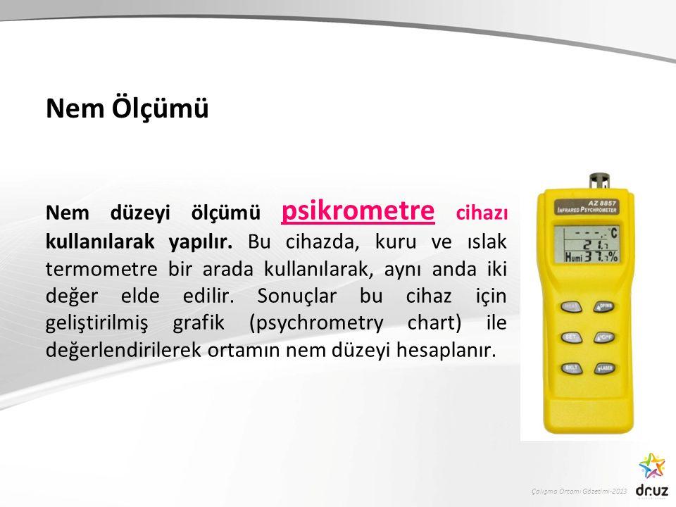 Çalışma Ortamı Gözetimi-2013 Nem Ölçümü Nem düzeyi ölçümü psikrometre cihazı kullanılarak yapılır.