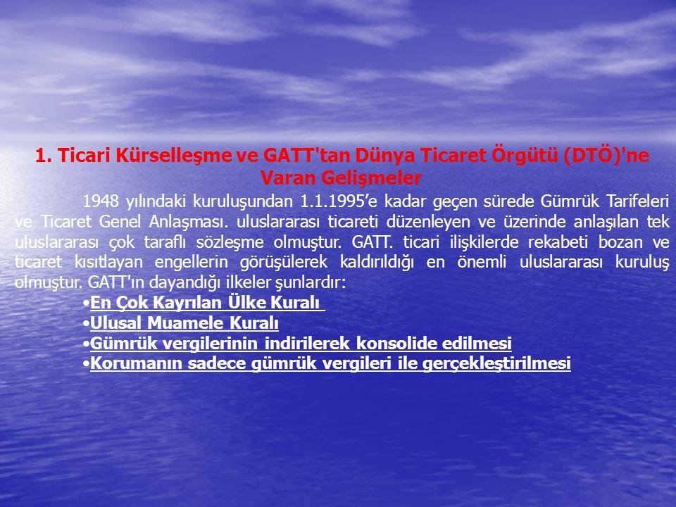 1. Ticari Kürselleşme ve GATT'tan Dünya Ticaret Örgütü (DTÖ)'ne Varan Gelişmeler 1948 yılındaki kuruluşundan 1.1.1995'e kadar geçen sürede Gümrük Tari