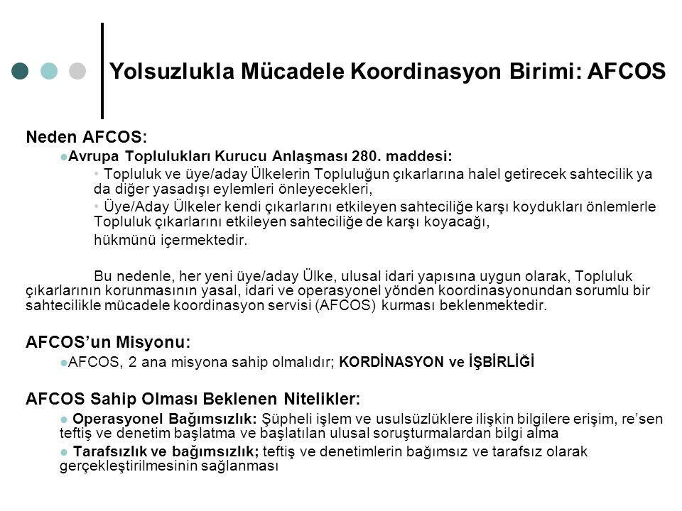 Yolsuzlukla Mücadele Koordinasyon Birimi: AFCOS Neden AFCOS: Avrupa Toplulukları Kurucu Anlaşması 280. maddesi: Topluluk ve üye/aday Ülkelerin Toplulu