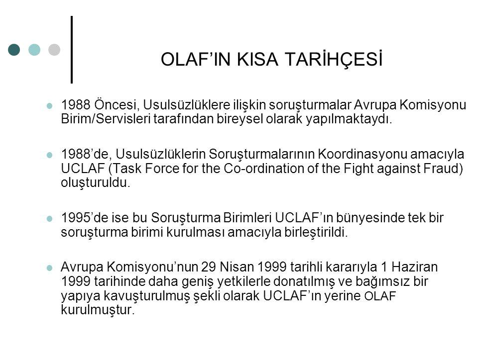 OLAF'IN KISA TARİHÇESİ 1988 Öncesi, Usulsüzlüklere ilişkin soruşturmalar Avrupa Komisyonu Birim/Servisleri tarafından bireysel olarak yapılmaktaydı. 1