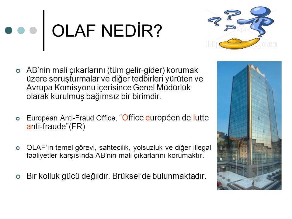 OLAF NEDİR? AB'nin mali çıkarlarını (tüm gelir-gider) korumak üzere soruşturmalar ve diğer tedbirleri yürüten ve Avrupa Komisyonu içerisince Genel Müd