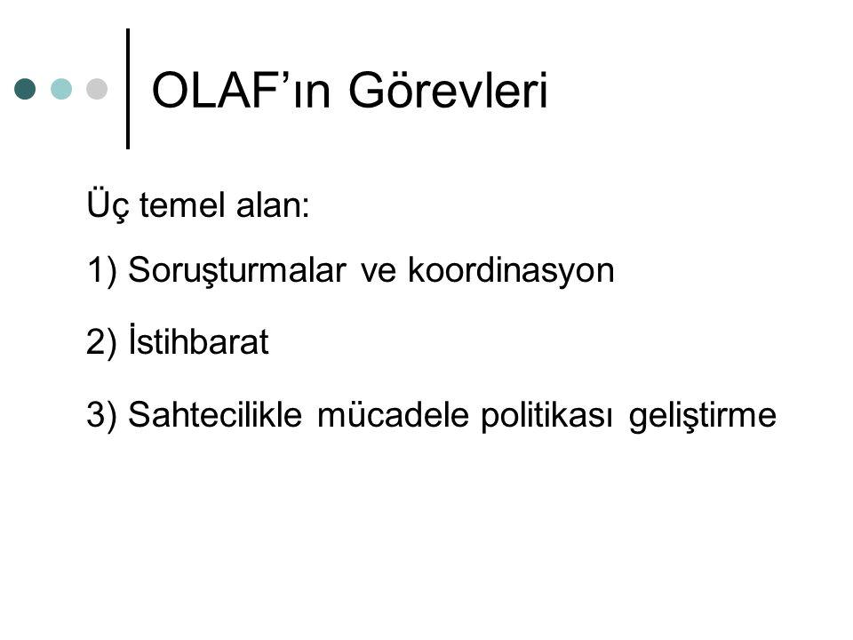 OLAF'ın Görevleri Üç temel alan: 1) Soruşturmalar ve koordinasyon 2) İstihbarat 3) Sahtecilikle mücadele politikası geliştirme