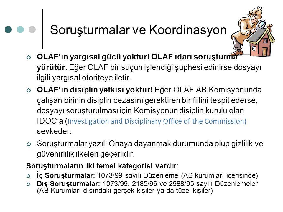 Soruşturmalar ve Koordinasyon OLAF'ın yargısal gücü yoktur! OLAF idari soruşturma yürütür. Eğer OLAF bir suçun işlendiği şüphesi edinirse dosyayı ilgi