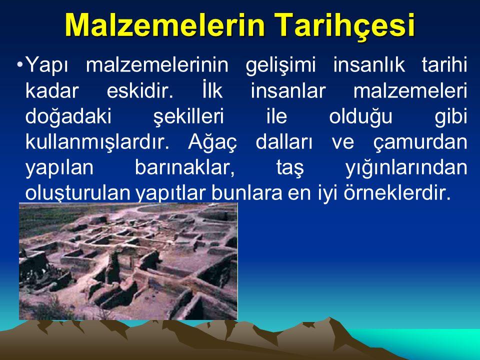 Malzemelerin Tarihçesi Yapı malzemelerinin gelişimi insanlık tarihi kadar eskidir.