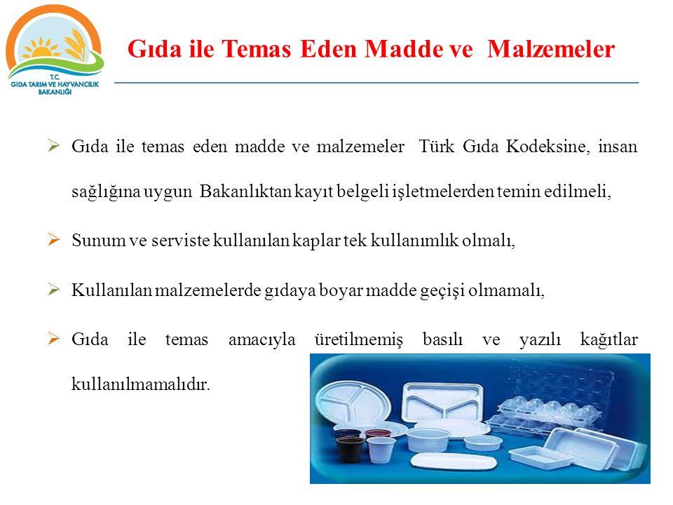 Gıda ile Temas Eden Madde ve Malzemeler  Gıda ile temas eden madde ve malzemeler Türk Gıda Kodeksine, insan sağlığına uygun Bakanlıktan kayıt belgeli