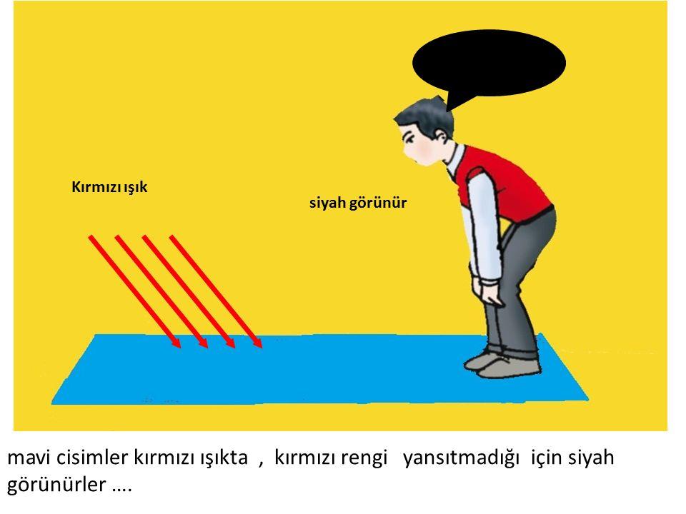 siyah görünür Kırmızı ışık mavi cisimler kırmızı ışıkta, kırmızı rengi yansıtmadığı için siyah görünürler ….