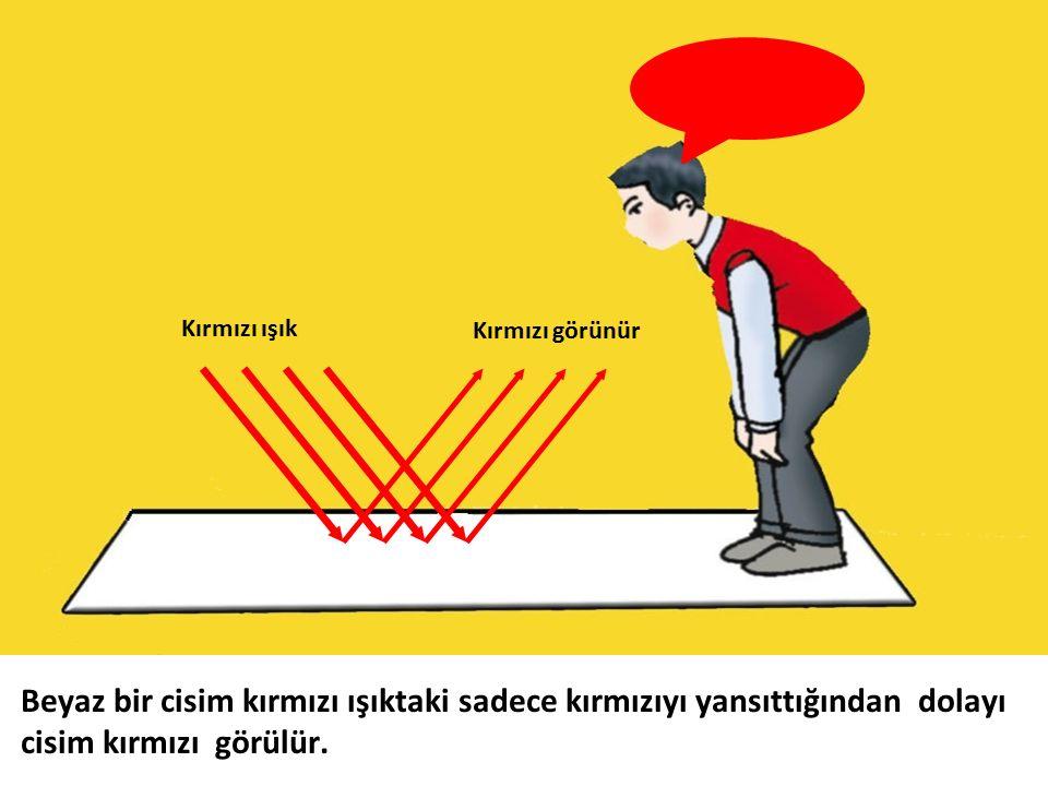 Kırmızı ışık Kırmızı görünür Beyaz bir cisim kırmızı ışıktaki sadece kırmızıyı yansıttığından dolayı cisim kırmızı görülür.