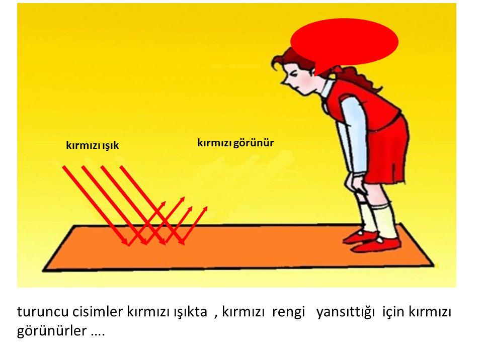 kırmızı görünür kırmızı ışık turuncu cisimler kırmızı ışıkta, kırmızı rengi yansıttığı için kırmızı görünürler ….