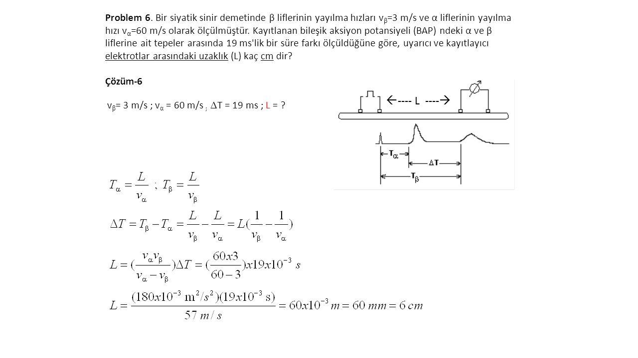 Problem 6. Bir siyatik sinir demetinde β liflerinin yayılma hızları v β =3 m/s ve α liflerinin yayılma hızı v α =60 m/s olarak ölçülmüştür. Kayıtlanan