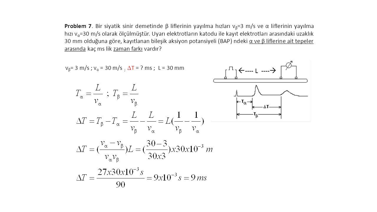 Problem 7. Bir siyatik sinir demetinde β liflerinin yayılma hızları v β =3 m/s ve α liflerinin yayılma hızı v α =30 m/s olarak ölçülmüştür. Uyarı elek