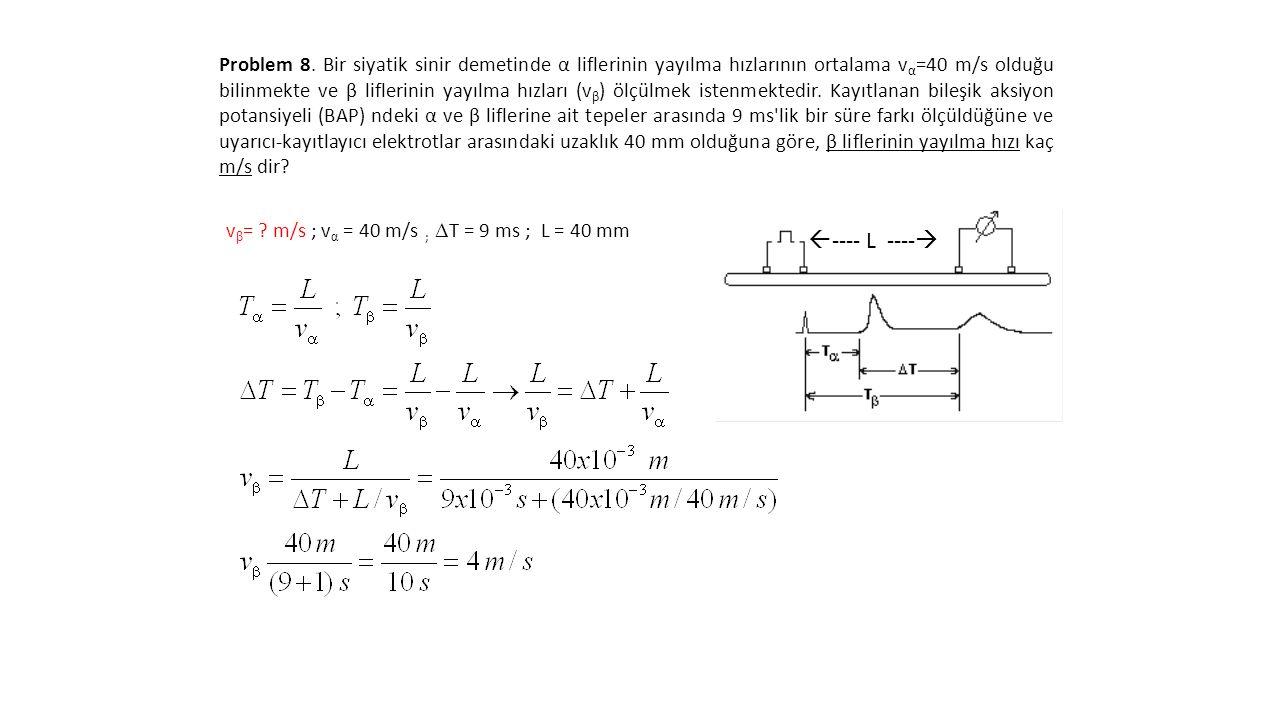 Problem 8. Bir siyatik sinir demetinde α liflerinin yayılma hızlarının ortalama v α =40 m/s olduğu bilinmekte ve β liflerinin yayılma hızları (v β ) ö
