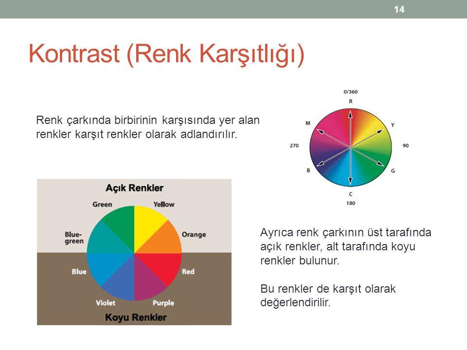 Kontrast (Renk Karşıtlığı) Renk çarkında birbirinin karşısında yer alan renkler karşıt renkler olarak adlandırılır. Ayrıca renk çarkının üst tarafında