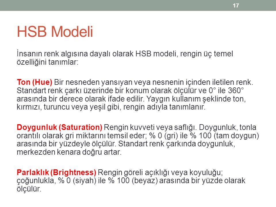 HSB Modeli İnsanın renk algısına dayalı olarak HSB modeli, rengin üç temel özelliğini tanımlar: Ton (Hue) Bir nesneden yansıyan veya nesnenin içinden