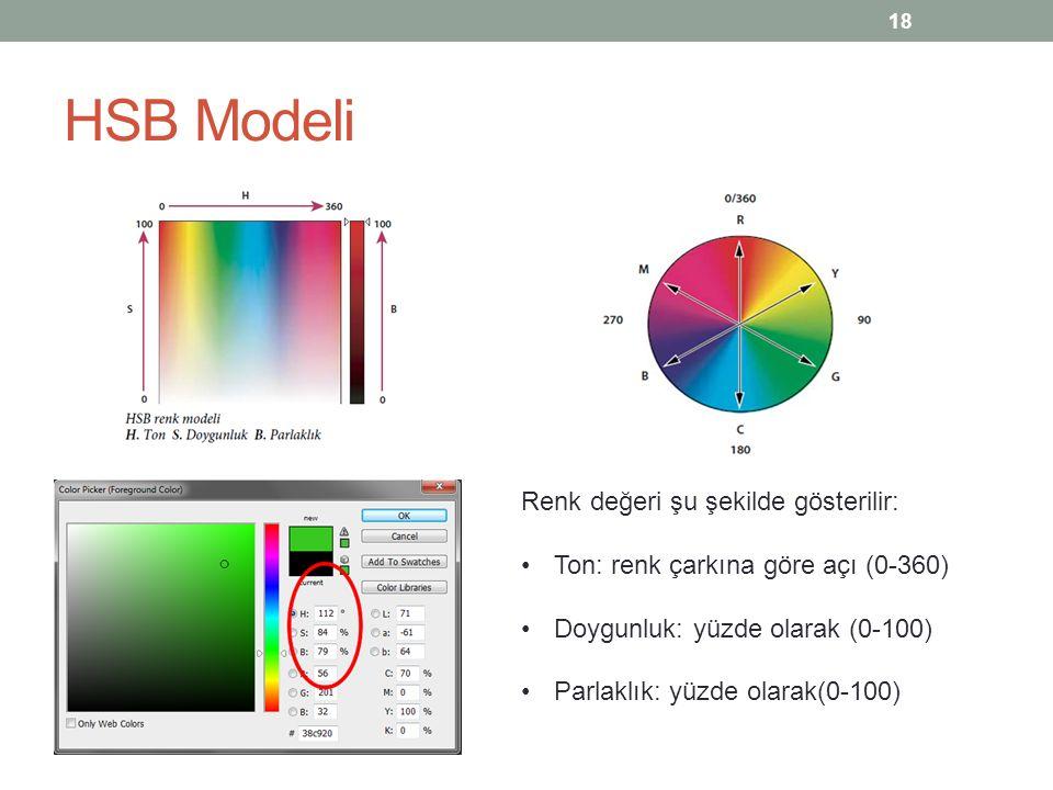 HSB Modeli Renk değeri şu şekilde gösterilir: Ton: renk çarkına göre açı (0-360) Doygunluk: yüzde olarak (0-100) Parlaklık: yüzde olarak(0-100) 18