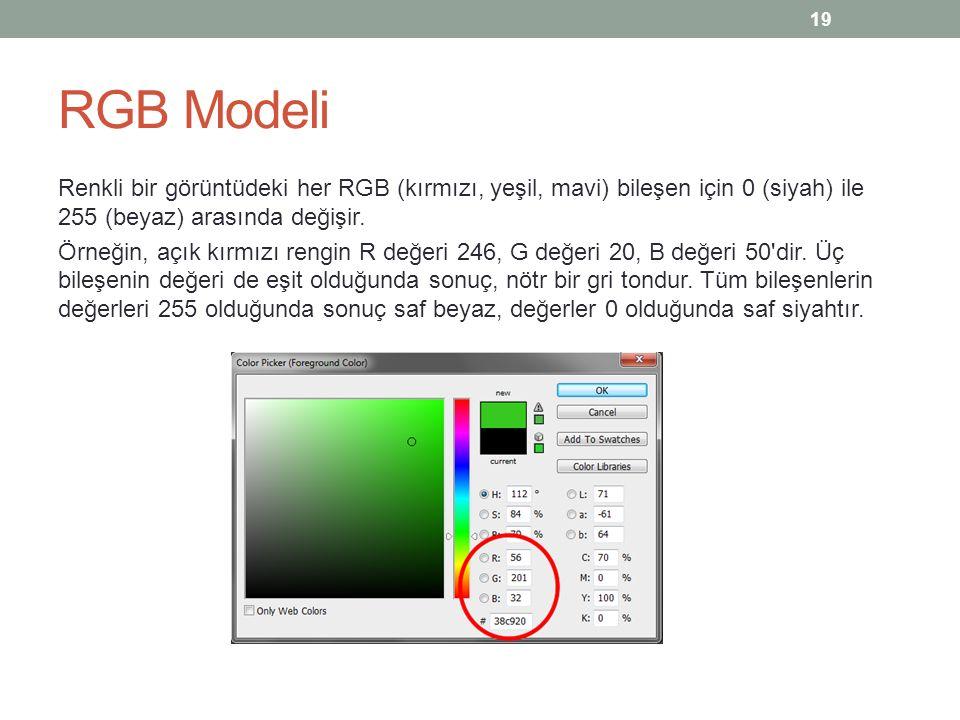RGB Modeli Renkli bir görüntüdeki her RGB (kırmızı, yeşil, mavi) bileşen için 0 (siyah) ile 255 (beyaz) arasında değişir. Örneğin, açık kırmızı rengin
