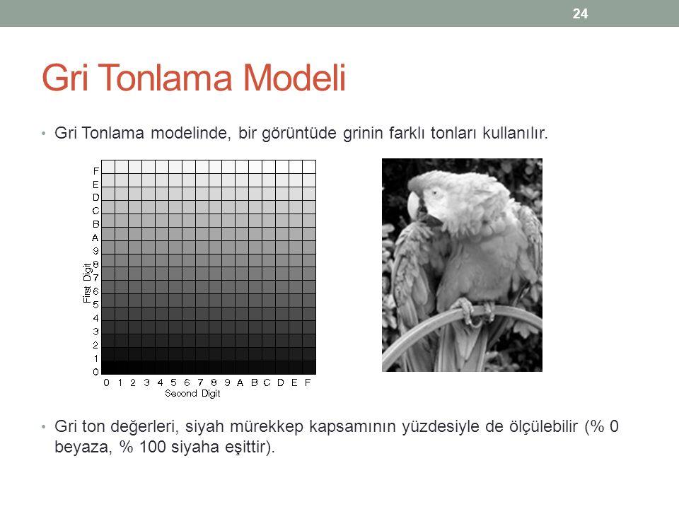 Gri Tonlama Modeli Gri Tonlama modelinde, bir görüntüde grinin farklı tonları kullanılır. Gri ton değerleri, siyah mürekkep kapsamının yüzdesiyle de ö