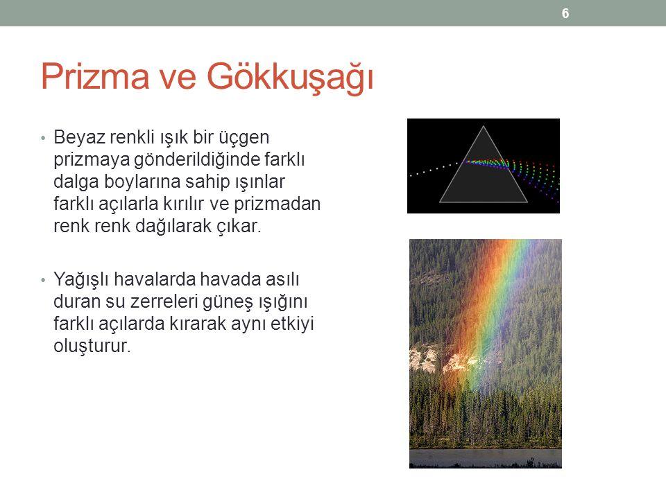 Prizma ve Gökkuşağı Beyaz renkli ışık bir üçgen prizmaya gönderildiğinde farklı dalga boylarına sahip ışınlar farklı açılarla kırılır ve prizmadan ren