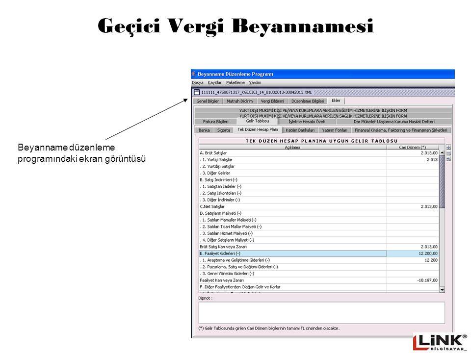 Geçici Vergi Beyannamesi Beyanname düzenleme programındaki ekran görüntüsü