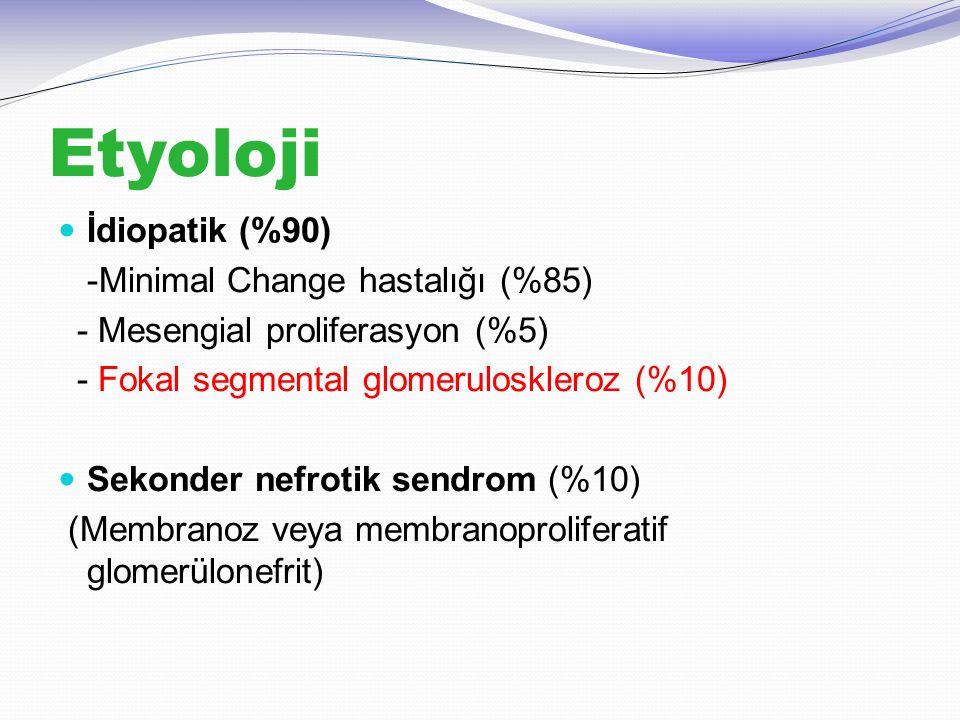 Etyoloji İdiopatik (%90) -Minimal Change hastalığı (%85) - Mesengial proliferasyon (%5) - Fokal segmental glomeruloskleroz (%10) Sekonder nefrotik sen