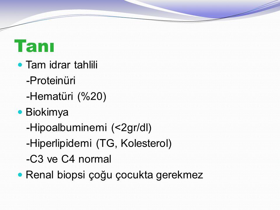 Tanı Tam idrar tahlili -Proteinüri -Hematüri (%20) Biokimya -Hipoalbuminemi (<2gr/dl) -Hiperlipidemi (TG, Kolesterol) -C3 ve C4 normal Renal biopsi ço