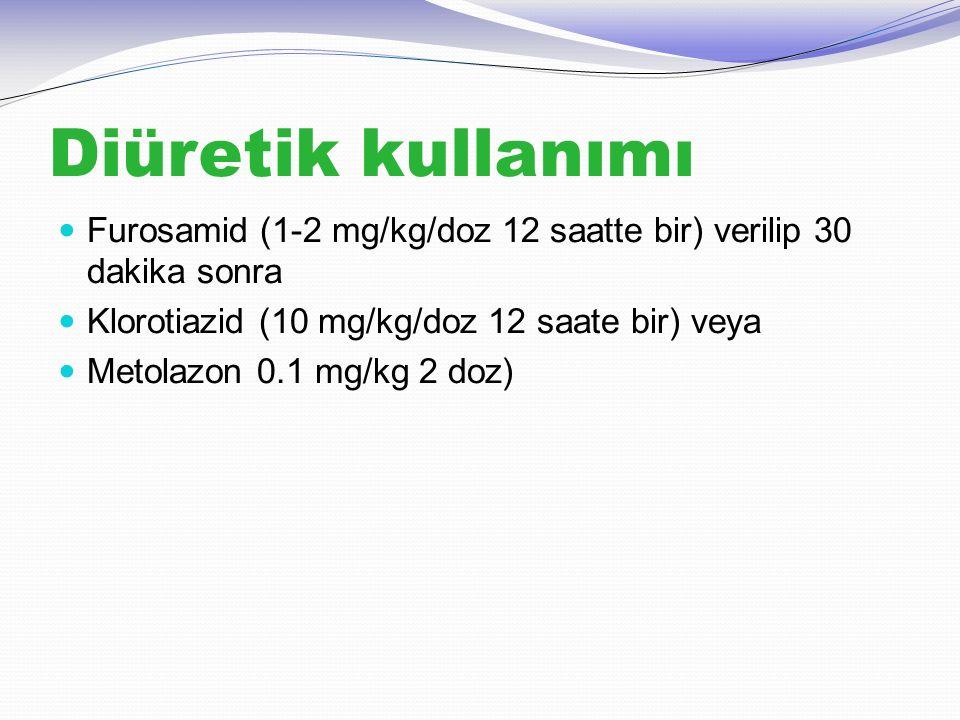 Diüretik kullanımı Furosamid (1-2 mg/kg/doz 12 saatte bir) verilip 30 dakika sonra Klorotiazid (10 mg/kg/doz 12 saate bir) veya Metolazon 0.1 mg/kg 2