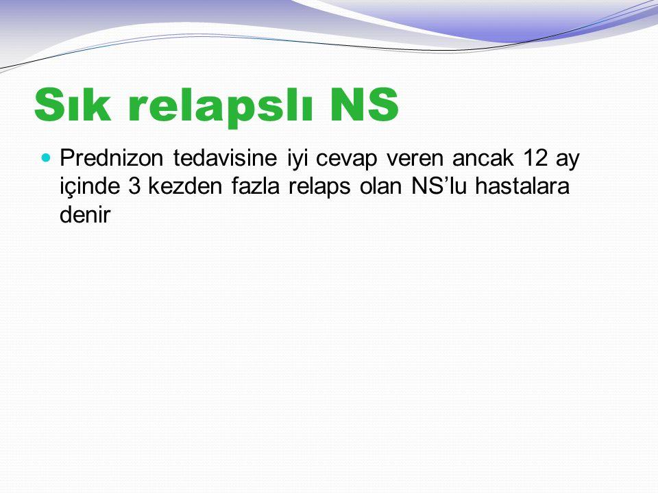 Sık relapslı NS Prednizon tedavisine iyi cevap veren ancak 12 ay içinde 3 kezden fazla relaps olan NS'lu hastalara denir