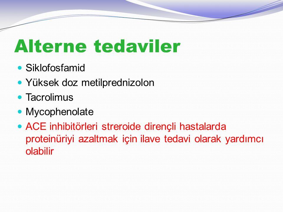 Alterne tedaviler Siklofosfamid Yüksek doz metilprednizolon Tacrolimus Mycophenolate ACE inhibitörleri streroide dirençli hastalarda proteinüriyi azal