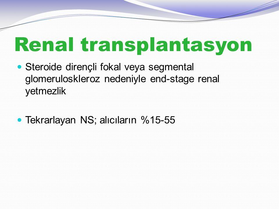 Renal transplantasyon Steroide dirençli fokal veya segmental glomeruloskleroz nedeniyle end-stage renal yetmezlik Tekrarlayan NS; alıcıların %15-55