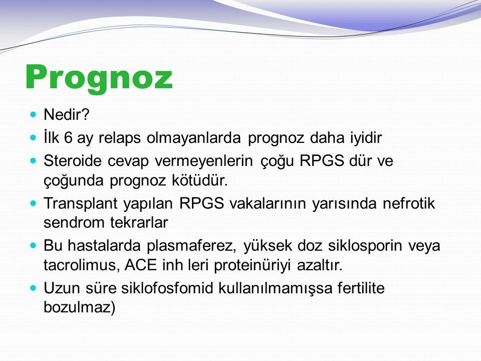Prognoz Nedir? İlk 6 ay relaps olmayanlarda prognoz daha iyidir Steroide cevap vermeyenlerin çoğu RPGS dür ve çoğunda prognoz kötüdür. Transplant yapı