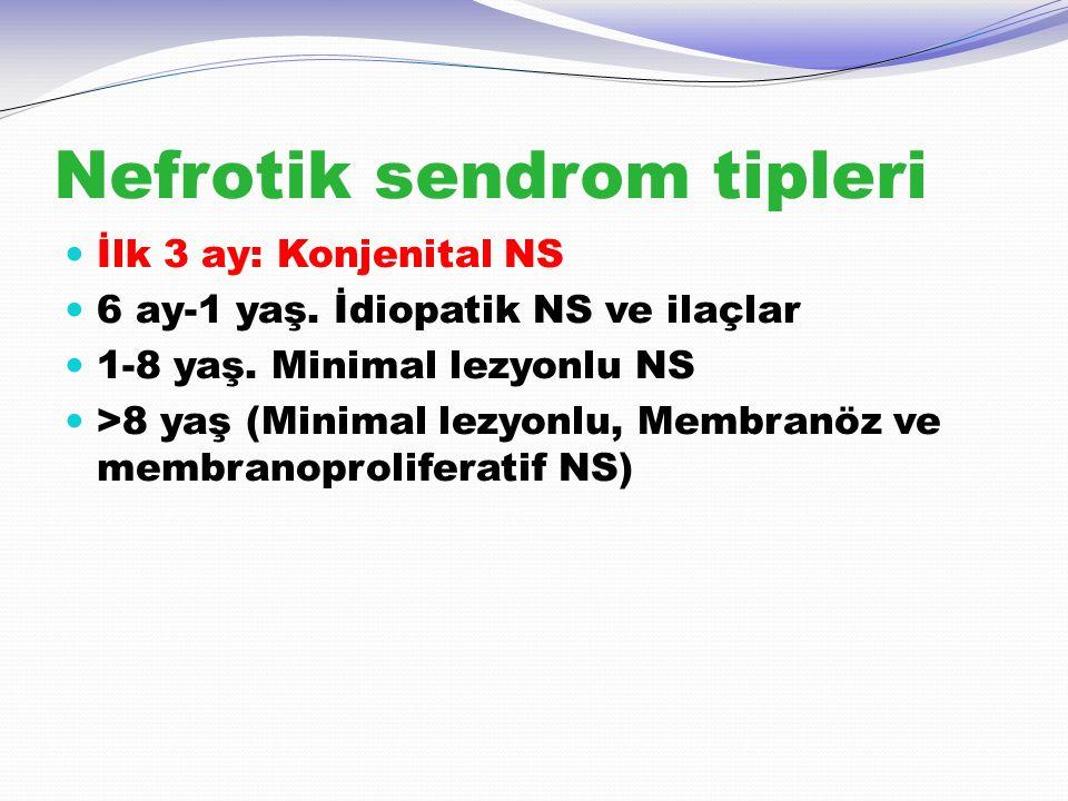 Nefrotik sendrom tipleri İlk 3 ay: Konjenital NS 6 ay-1 yaş. İdiopatik NS ve ilaçlar 1-8 yaş. Minimal lezyonlu NS >8 yaş (Minimal lezyonlu, Membranöz