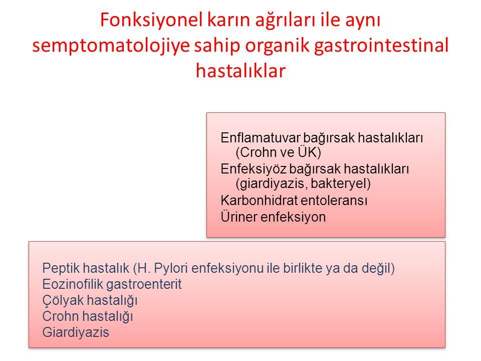 Fonksiyonel karın ağrıları ile aynı semptomatolojiye sahip organik gastrointestinal hastalıklar Enflamatuvar bağırsak hastalıkları (Crohn ve ÜK) Enfeksiyöz bağırsak hastalıkları (giardiyazis, bakteryel) Karbonhidrat entoleransı Üriner enfeksiyon Enflamatuvar bağırsak hastalıkları (Crohn ve ÜK) Enfeksiyöz bağırsak hastalıkları (giardiyazis, bakteryel) Karbonhidrat entoleransı Üriner enfeksiyon Peptik hastalık (H.