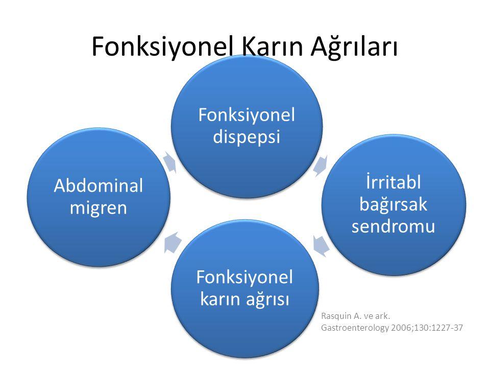 Fonksiyonel dispepsi İrritabl bağırsak sendromu Fonksiyonel karın ağrısı Abdominal migren Rasquin A.