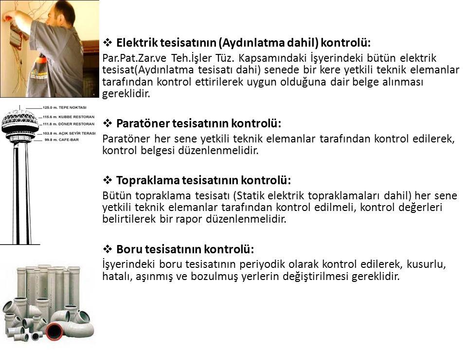  Elektrik tesisatının (Aydınlatma dahil) kontrolü: Par.Pat.Zar.ve Teh.İşler Tüz. Kapsamındaki İşyerindeki bütün elektrik tesisat(Aydınlatma tesisatı