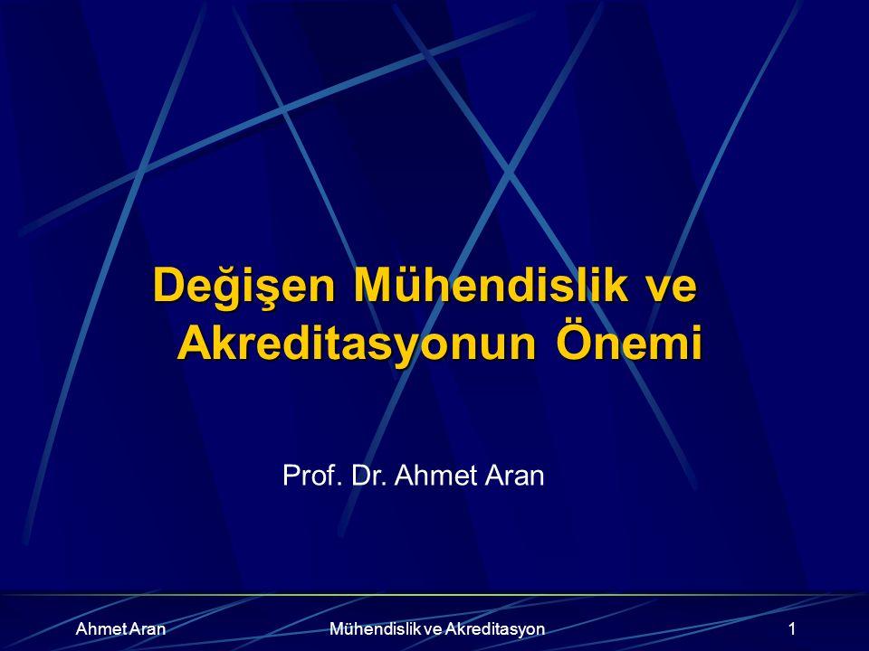 Ahmet AranMühendislik ve Akreditasyon1 Değişen Mühendislik ve Akreditasyonun Önemi Prof.