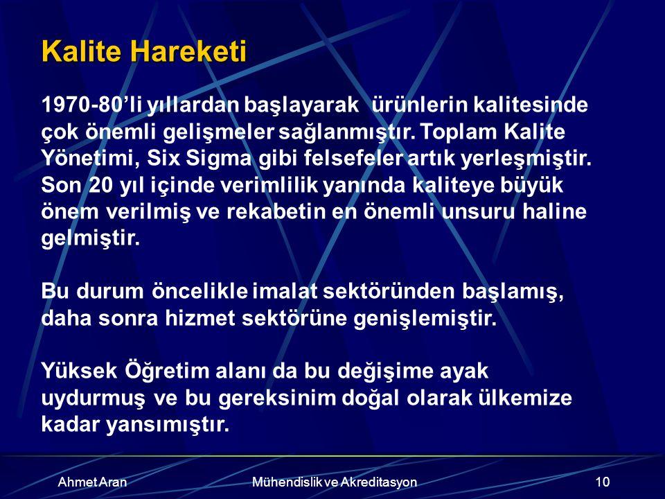 Ahmet AranMühendislik ve Akreditasyon10 Kalite Hareketi 1970-80'li yıllardan başlayarak ürünlerin kalitesinde çok önemli gelişmeler sağlanmıştır.
