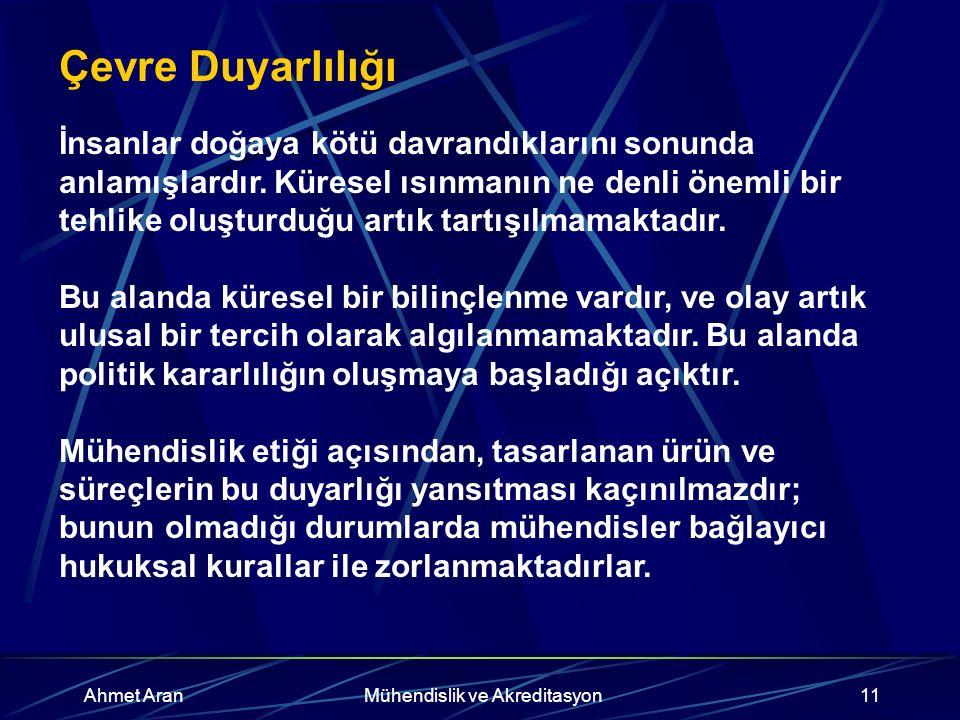 Ahmet AranMühendislik ve Akreditasyon11 Çevre Duyarlılığı İnsanlar doğaya kötü davrandıklarını sonunda anlamışlardır.