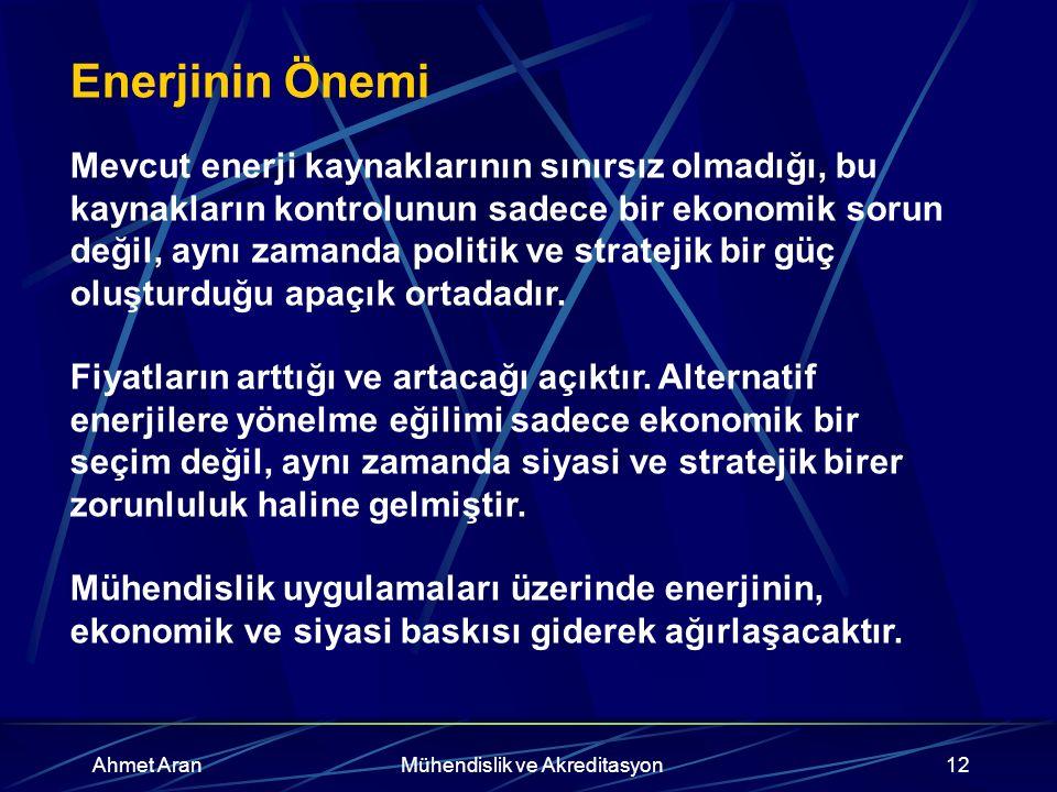 Ahmet AranMühendislik ve Akreditasyon12 Enerjinin Önemi Mevcut enerji kaynaklarının sınırsız olmadığı, bu kaynakların kontrolunun sadece bir ekonomik sorun değil, aynı zamanda politik ve stratejik bir güç oluşturduğu apaçık ortadadır.