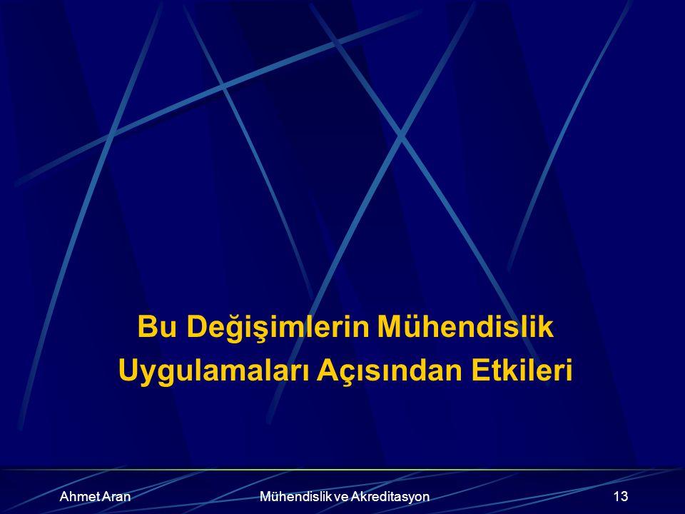 Ahmet AranMühendislik ve Akreditasyon13 Bu Değişimlerin Mühendislik Uygulamaları Açısından Etkileri