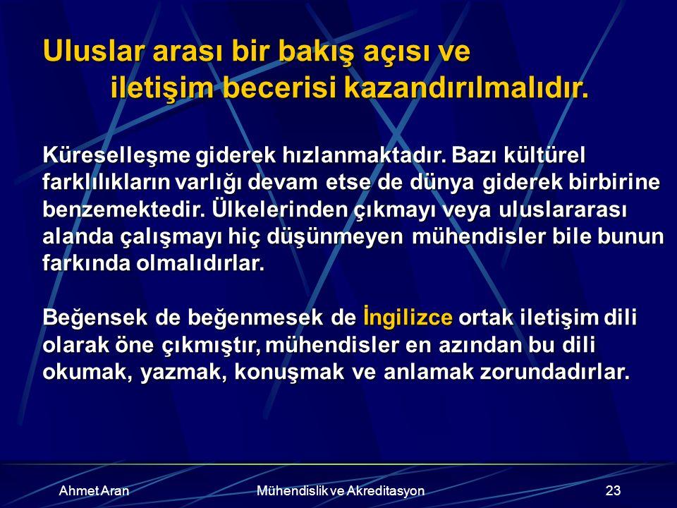 Ahmet AranMühendislik ve Akreditasyon23 Uluslar arası bir bakış açısı ve iletişim becerisi kazandırılmalıdır.