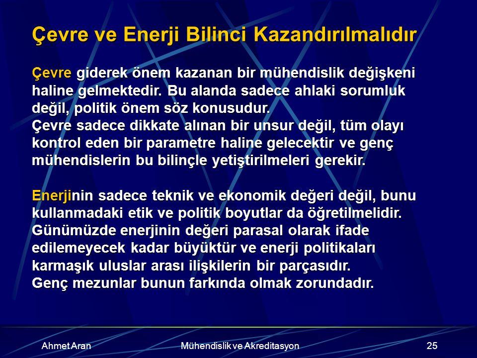 Ahmet AranMühendislik ve Akreditasyon25 Çevre ve Enerji Bilinci Kazandırılmalıdır Çevre giderek önem kazanan bir mühendislik değişkeni haline gelmektedir.