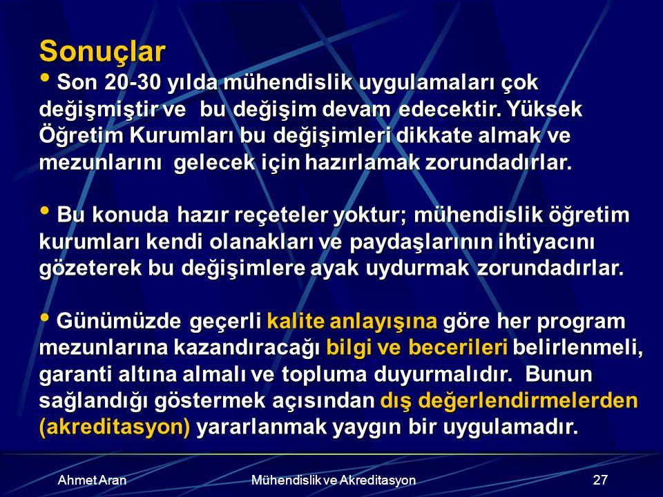 Ahmet AranMühendislik ve Akreditasyon27 Sonuçlar Son 20-30 yılda mühendislik uygulamaları çok değişmiştir ve bu değişim devam edecektir.