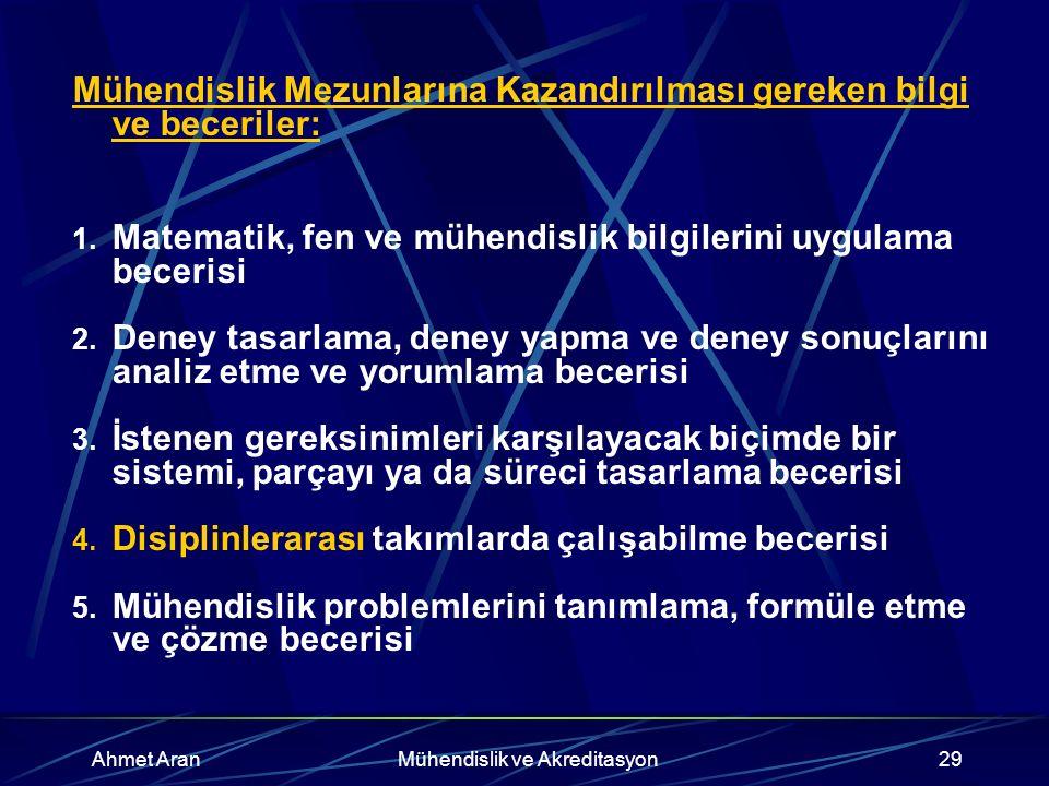 Ahmet AranMühendislik ve Akreditasyon29 Mühendislik Mezunlarına Kazandırılması gereken bilgi ve beceriler: 1.