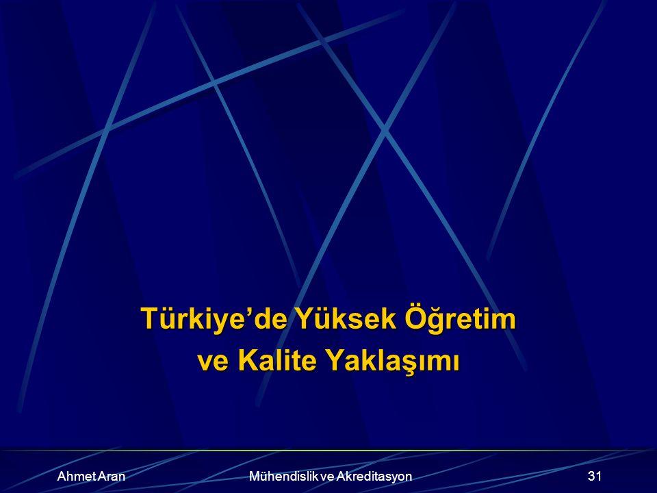 Ahmet AranMühendislik ve Akreditasyon31 Türkiye'de Yüksek Öğretim ve Kalite Yaklaşımı