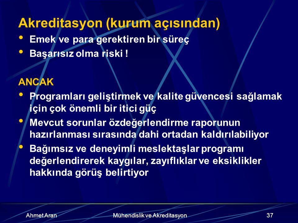 Ahmet AranMühendislik ve Akreditasyon37 Akreditasyon (kurum açısından) Emek ve para gerektiren bir süreç Başarısız olma riski .