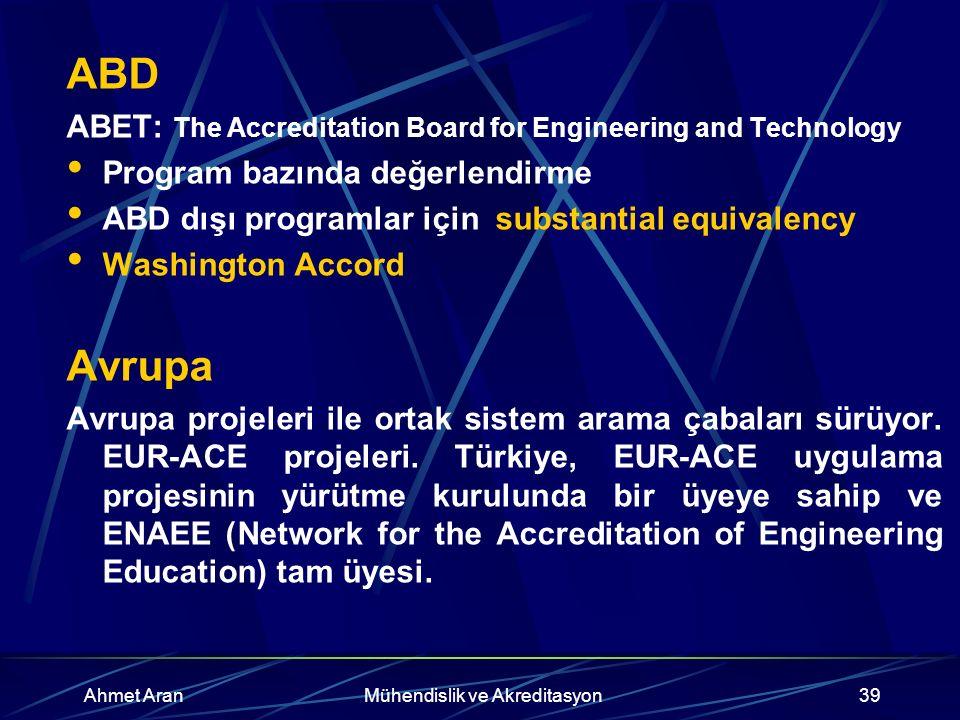 Ahmet AranMühendislik ve Akreditasyon39 ABD ABET: The Accreditation Board for Engineering and Technology Program bazında değerlendirme ABD dışı programlar için substantial equivalency Washington Accord Avrupa Avrupa projeleri ile ortak sistem arama çabaları sürüyor.