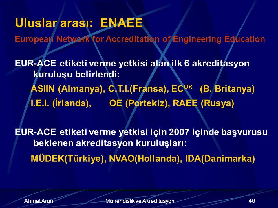 Ahmet AranMühendislik ve Akreditasyon40 Uluslar arası: ENAEE European Network for Accreditation of Engineering Education EUR-ACE etiketi verme yetkisi alan ilk 6 akreditasyon kuruluşu belirlendi: ASIIN (Almanya), C.T.I.(Fransa), EC UK (B.