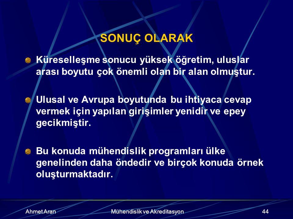 Ahmet AranMühendislik ve Akreditasyon44 SONUÇ OLARAK Küreselleşme sonucu yüksek öğretim, uluslar arası boyutu çok önemli olan bir alan olmuştur.