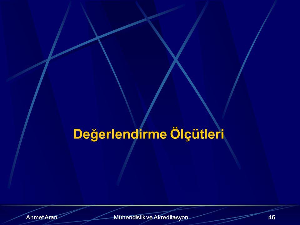 Ahmet AranMühendislik ve Akreditasyon46 Değerlendirme Ölçütleri