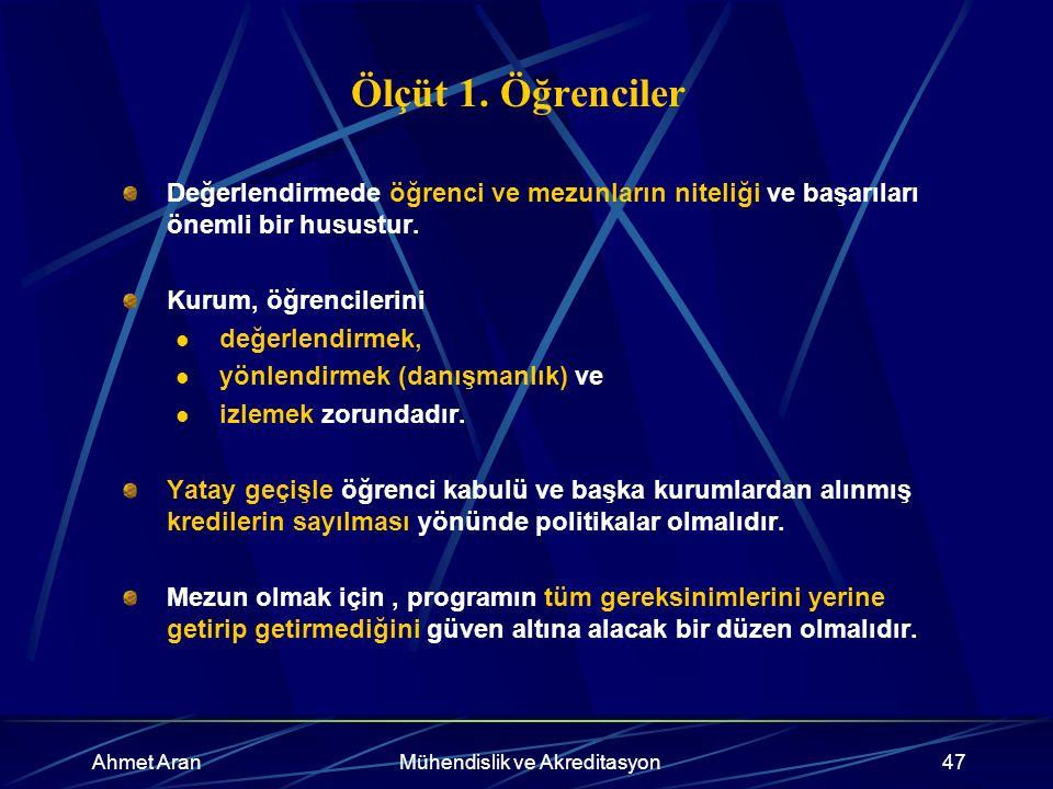 Ahmet AranMühendislik ve Akreditasyon47 Ölçüt 1.